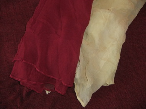 2 beautiful, sheer, fluid scarves, again, they look great attached to the back of your headwrap, flowing down your back, burgundy and light yellow, 2 for price of one! $20.00, plus $5.50 S&H