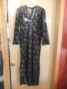 A. newer egyptian assuit, black with silver, long tunic, gorgeous! $80.00 plus $5.50 S&H